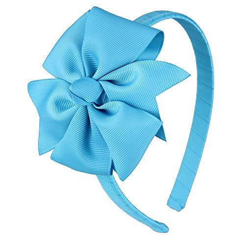 (7Rainbows Girls Fashion Cute Turquoise Bow Headband.)