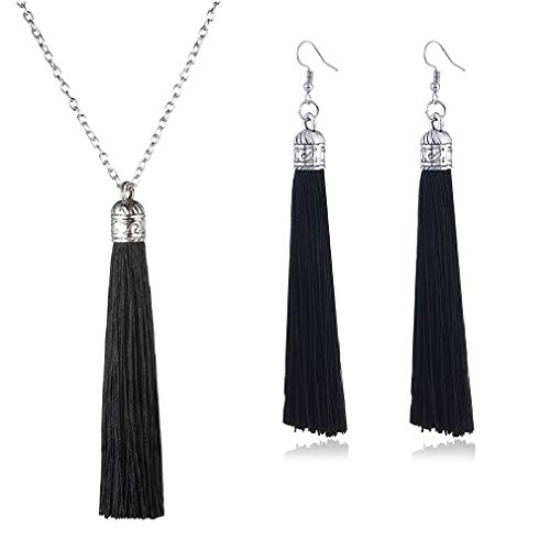 Tuoke-peri Colorful Long Tassel Necklace Dangle Earrings Bohemian Drop Pendant Jewelry Sets for Women and Girls (14 Black)