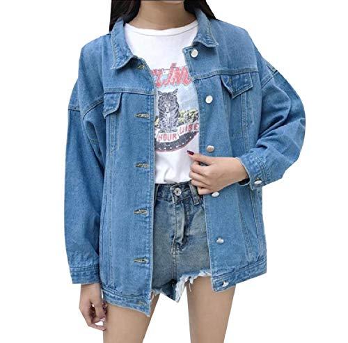 Azzurro Caduta Magre Giacca Xinheo Juniores Denim Donne Jeans Sciolto Inverno Delle Bomber Di 71qx6R