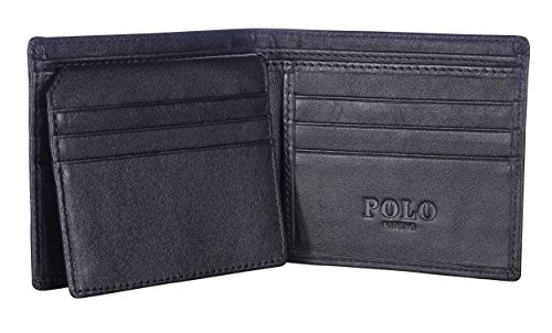VIDENG POLO W18 RFID Blocking Leather Wallet for Men - Excellent Credit Card Protector - Stop Electronic Pick Pocketing (Onyx - Card Dimensions Inches Credit