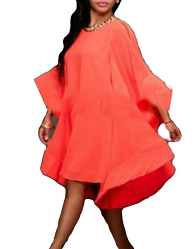 Loose Irregular Stylish Cromoncent Long Red Womens Swing Dress Ruffles Sleeve 1Yt1qxw