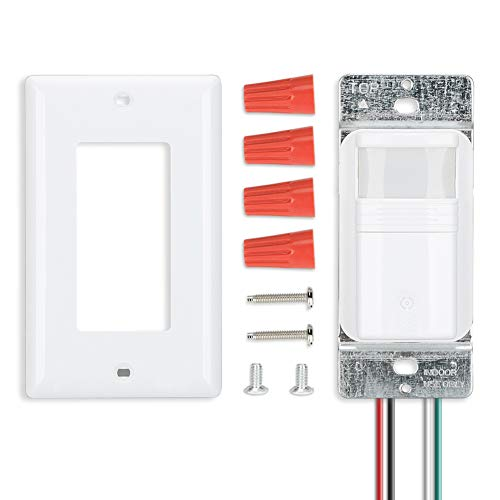 ECOELER Lighting Motion Sensor Wall Switches, PIR Motion Sensor Light Switch, Vacancy & Occupancy in Wall Sensor Switch, Neutral Wire Required, 1/8Hp Motor, Wall Plates Included, White, 4 Pack by ECOELER (Image #8)