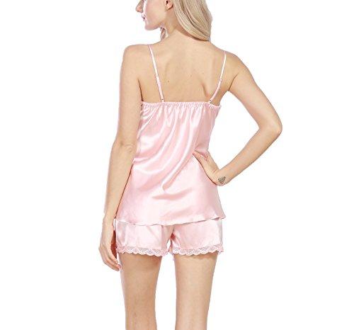 da donna Set da notte babydoll Rosa morbido Asskyus pantaloni e di silicone giubbotto in qXxUdxYHw