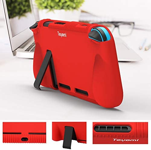 Teyomi - Carcasa de Silicona para Nintendo Switch (Incluye Protector de visualización de Vidrio Templado), Rojo 8