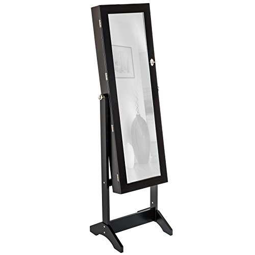 TecTake Luxus Spiegelschmuckschrank mit extra großem Spiegel schwarz