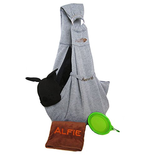 Alfie Pet by Petoga Couture - 3-Piece Dog Park Bundle: Chico 2.0 Revisible Pet Sling Carrier, Microfiber Fast-Dry Towel, Rosh Collapsible Travel Bowl - Color: Grey Sling, Green Bowl -