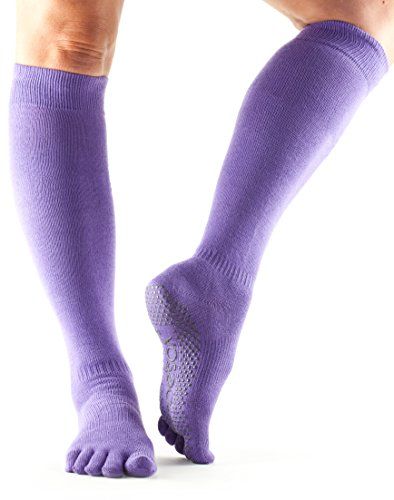 ToeSox Women's Grip Full Toe Scrunch Socks, Small, Light Purple