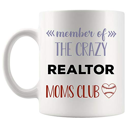 Crazy Mom Club Realtor Mug Real Estate Coffee Cup MugsCoworker Son Daughter Mother Day Aunt | Funny Gifts Agent Funny Gift Mom Dad Future - Estate Club Wine