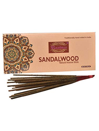 raajsee Sandalwood Natural Incense Sticks 100 Gm Pack-100% Pure Organic Natural Hand Rolled Free from Chemicals-Perfect for Church,Aroma Therapy,Relaxation,Meditation,Positivity,Healing 100gm Pack