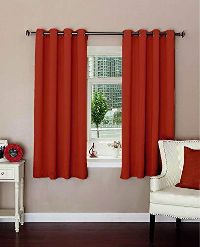 plain rust polyester blackout curtains