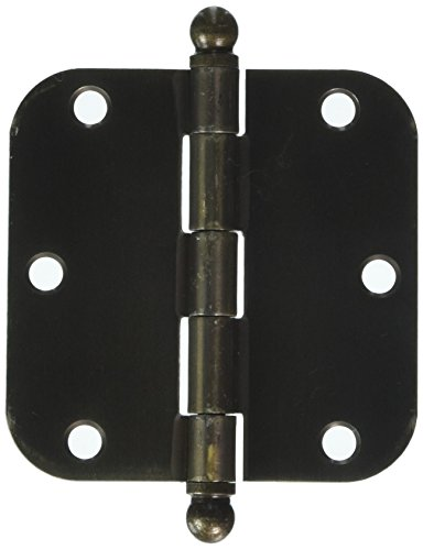 Deltana S35R55-BT Steel 3 1/2-Inch x 3 1/2-Inch x 5/8-Inch Radius Hinge with Ball Tips