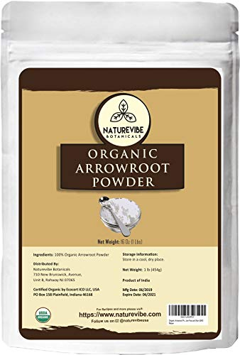 Naturevibe Botanicals Organic Arrowroot Powder, 16 ounces | Arrowroot Flour or Starch | Gluten Free and Non-Gmo | Manihot esculenta | Cooking and Baking | Thickening Agent [Packaging may vary] (Lb Powder 1 Arrowroot)