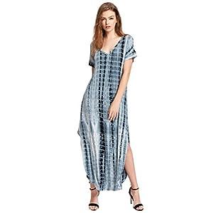 MakeMeChic Women's Boho Maxi Short Sleeve Split Pockets Tie Dye Long Dress