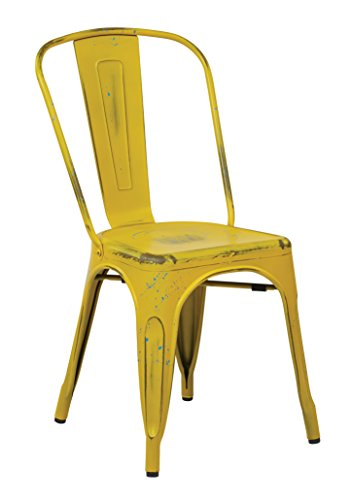 Office Star Bristow Metal Seat and Back Armless Chair, Antique Yellow with Blue Specks, 4-Pack