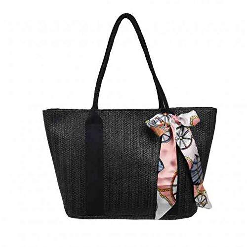 Women Woven Shoulder Bag Handbag Straw Tote Bag Summer Rattan Bag Purse for Beach Travel (Black)
