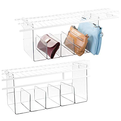 mDesign Plastic 5 Compartment Hanging Closet Storage Organizer Tray - Divided Sections for Holding Sunglasses, Wallets, Clutch Purses, Accessories - Hangs Below Shelving - 2 Pack - Clear