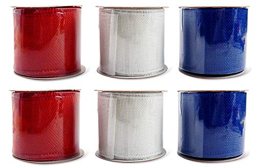 Patriotic Assortment (Pack of 6) Burlap Wired Red White Blue Fabric 2 1/2 Inch Wide Ribbon Rolls - Each 6 Yards Long (Solid Burlap) 108 Feet Total Length ()