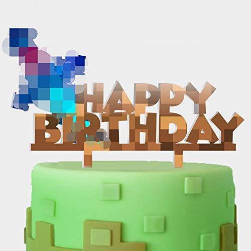 Minecraft Cake Supplies (Video Game Acrylic Cake Topper Happy Birthday Pixel Sword Block Games Theme Decor Picks for Baby Shower Birthday Party Decorations)