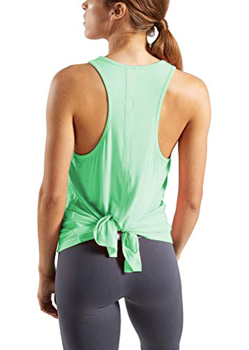 Bestisun Exercise Sports Clothes Muscle Training Shirts Athletic Fitness Clothing Workout Summer Outfits Yoga Running Tennis Boxing Apparel Stretchy Gym Active Tank Tops for Petite Women Mint Green -