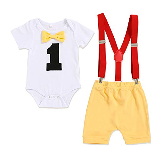 GRNSHTS Baby Boy Funny First Birthday Clothes Infant Boy Bow Tie Romper Bodysuit Cake Smash Outfits (Yellow, 12-18 Months)