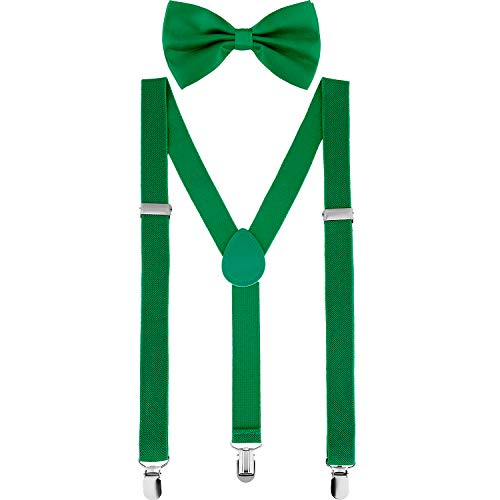 Suspender Bow Tie Set Clip On Y Shape Adjustable Braces, Pant Suspenders Shoulder Straps for Cosplay Party (Dark -