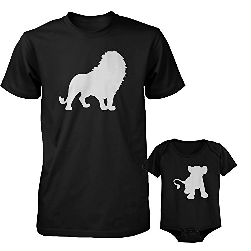 Lion Body - Funny Lion and Cub Matching Dad Shirt and Baby Bodysuit Cute Animal Graphic Outfit