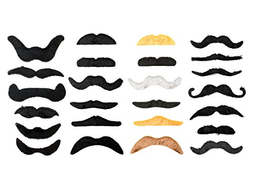 Vancool 49 Pack Self Adhesive Fake Mustache Set Novelty Mustaches for Costume and Christmas Party Favors - Suitable for Kids and Adults