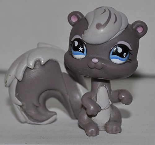 Squirrel #484 (Skunk Mold: Gray, blue eyes) - Littlest Pet Shop (Retired) Collector Toy - LPS Collectible Replacement Figure - Loose (OOP Out of Package & Print)