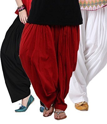 bc9d2d742d Kalpit Creations Women's Cotton Patiala Salwar Combo (Black,Maroon and  White Free Size): Amazon.in: Clothing & Accessories