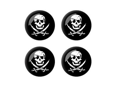 Graphics and More Pirate Skull Crossed Swords - Wheel Center Cap 3D Domed Set of 4 Stickers Badges -
