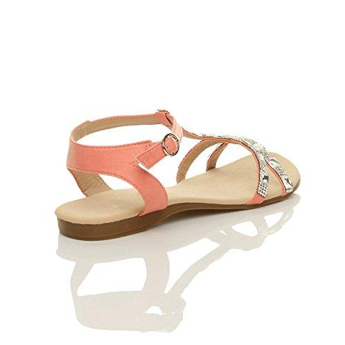 Coral Size Bar T Flat Sandals Summer Diamante Women Ajvani q8zwFF