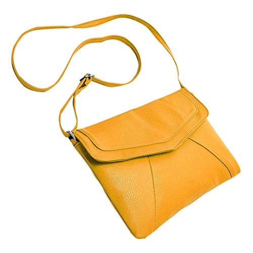 TOOGOO Nuevo Moda Bolsa de sobre de mujer Bolsas de mensajero de cuer Bolso Bolsa de cuerpo cruzado de hombro Monederos cartapacios Bolsas amarillo
