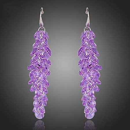 NOBRAND Pendientes De Mujer Pendientes Colgantes De Lavanda Romántica De CristalPúrpura