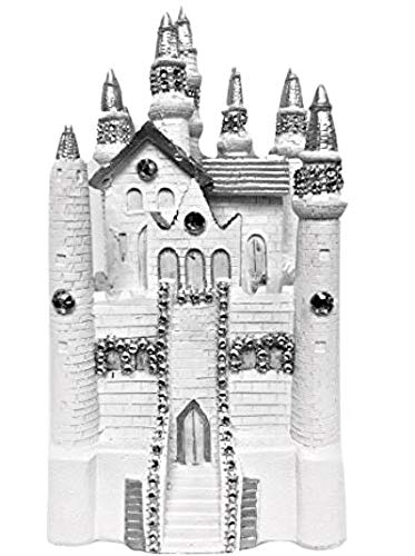 White Silver Fairytale Castle Cake Top Centerpiece Decoration