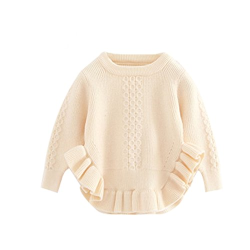 Toddler Baby Girls Pullover Sweaters Infant Knitted Sweater Ruffle Beige 100 Size 8