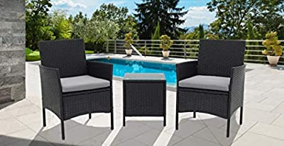 SUNCROWN Outdoor Bistro Set 3 Piece (Brown/Black) Wicker Chairs with Glass Top Table