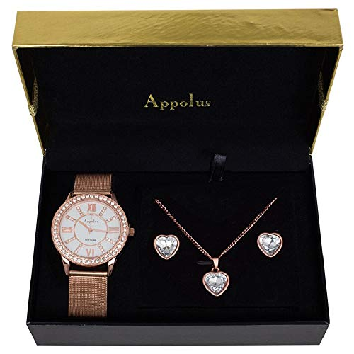 Birthday Gifts For Women - Best Gift For Mom Wife Girlfriend Anniversary Graduation Wedding - Appolus Mesh Band Watch Necklace Earrings Ring Set Rose GoldTone