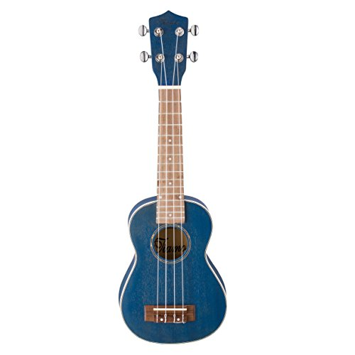 Ukulele-Tiamo 21 Inch Solid Spruce Wood Soprano for Beginner Gift with Straps + Bag+ Picks+Tuner+Nylon strings(The gradient blue)