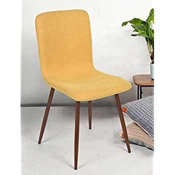 FurnitureR 4 Pieces Dining Chair Unique Style Fabric Cushion Dinning Seat Natural Wood Legs Armless Chairs Set, Yellow