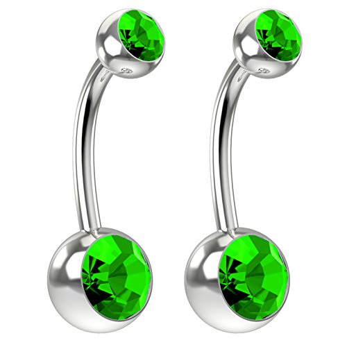 Peridot Crystal Swarovski Ring (2pc 14g Swarovski Crystal Belly Button Ring CZ Peridot Green Jeweled 10mm Sexy Women Navel Rings)