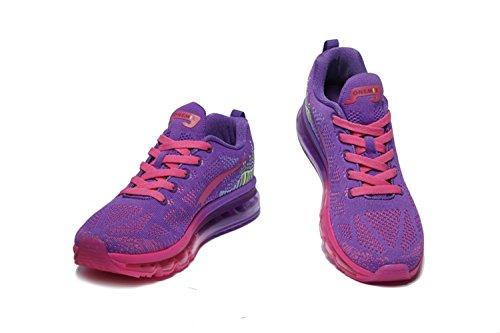 Femeninos zapatos deportivos zapatos amortiguar los zapatos corrientes de los zapatos del verano de las señoras zapatos casuales transpirable amortiguación ligera Morado