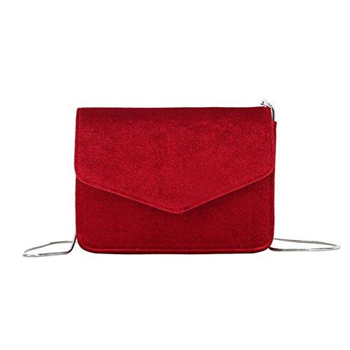 Porté Crossbody Bandoulière Rouge à Cabina Party Bag Sacs épaule Filles Clutch Sac La Velours Main Petits Sac Chain à Femmes 4TwPFq