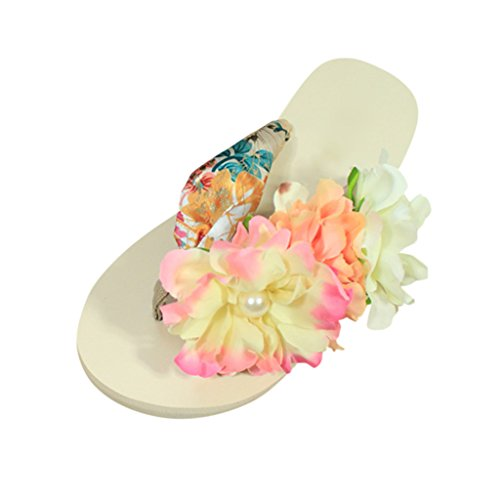 Hee Grand Ladies Boho Platform Flip Flops Thong Flats Flower Beach Sandals 7.5 US Beigepink
