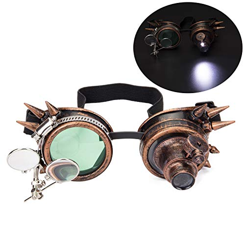 Spiked Steampunk Goggles with Double Ocular Loupe Vintage Welding Punk Gothic Glasses ()