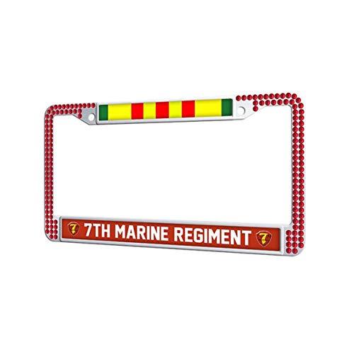 3rd Battalion 7th Marine Regiment - Toanovelty 7th Marine Regiment Red Shining Rhinestones License Plate Frame, Vietnam Veteran Service Ribbon Stainless Steel Glitter Crystal Car tag Frame 6' x 12.5' in