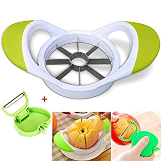 8-Blades Apple Slicer Corer,Bee-Persist UltraSharp Non-Magnetic Stainless Steel Blades with Free Folding Peeler