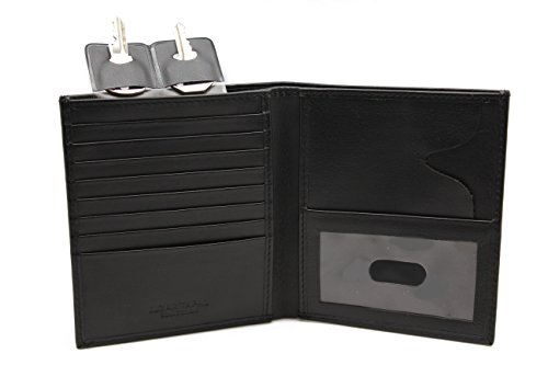Men's Slim Hipster Euro Bi-fold Leather ID Wallet & Gift Box with (Collection Leather Hipster Wallet)