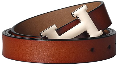 Fashion H-Style Slim Belt for Women Lady [2.5cm Belt Width] (Brown, 95cm (Waist 27''~33'' or Below)) by Amone Ling