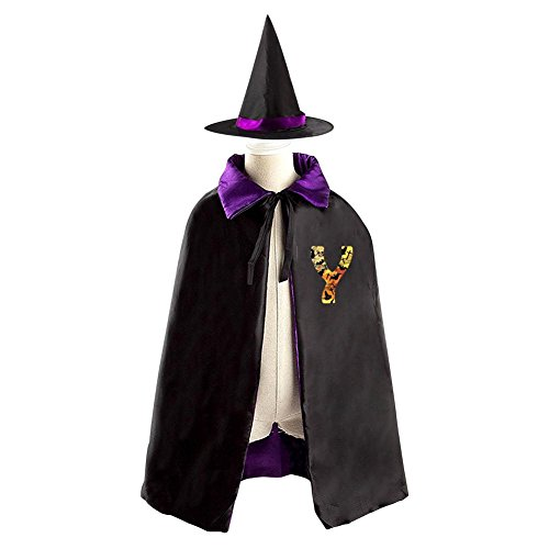 Childrens' Halloween Letter Y Costume Cosplay Wizard Witch Cloak Cape Robe And Cap Hat Set