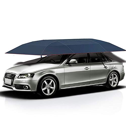 (Jolitac Car Tent Semi-Automatic, Portable Car Umbrella Tent Cover Movable Carport Folded Automobile Cars Protection Canopy with Sun Shade Anti-UV, Water-Proof, Snow Wind Proof (Manual, Blue Tent))